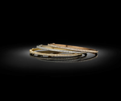 Bracelets en diamant contemporains en or jaune, blanc et rose.