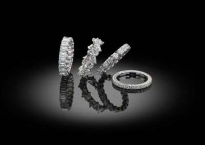 Different styles of diamond eternity rings.